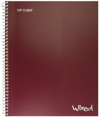 Wirebound 4 Subject Notebook (Top Flight Wired 3-Subject Wirebound Notebook with 4 Pockets, 120 Sheets, College Rule, 11 x 8.875 Inches, 1 Notebook, Cover May Vary (33181))