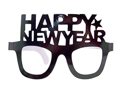 Flomo Happy New Year Metallic Foil Glasses Party Accessory, Pack of 12 (Black) ()