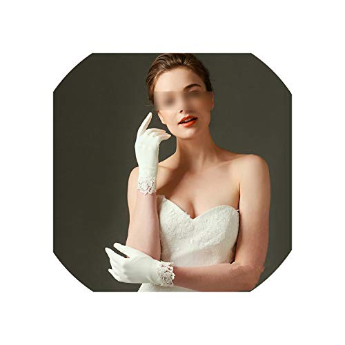 (Matte Satin Bridal Gloves Short Lace Trim Wedding Wrist Length Wedding Glove,Ivory)