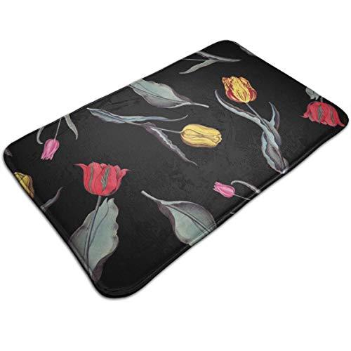Alan Doormat Tulips Floral Bath Mat Non Slip
