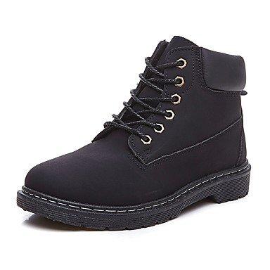 RTRY Zapatos De Mujer Otoño Invierno Pu Microfibra Sintético Bota De Combate Botines Botas Botas/Botines De Casual Marrón Negra US8.5 / EU39 / UK6.5 / CN40