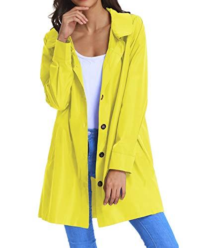 (Womens Lightweight Raincoat Hoodie Windproof Hiking Coat Packable Rain Jacket KK822-7 S Yellow)