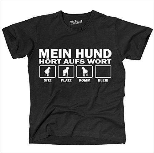 Siviwonder Unisex T-Shirt Mein Hund Hunde Hören Aufs Wort Schwarz - Weiß XL