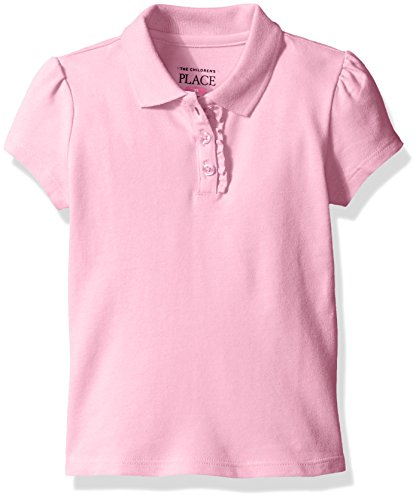 The Children's Place Girls Short Sleeve Uniform Polo Shirt, Sparkle Pink