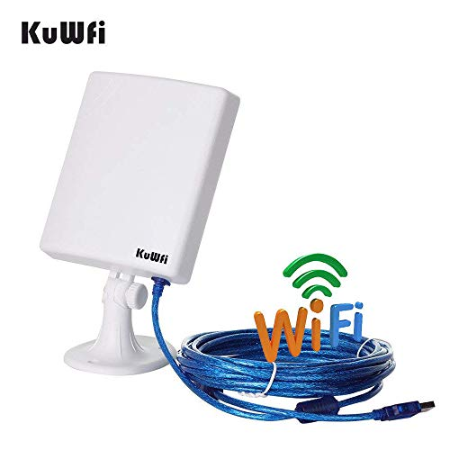 KuWFi Long Range Outdoor WiFi Netwok Adapter, High Gain 14dBi Antenna 5M Cable Wireless USB Adapter Stable Signal from Outdoor
