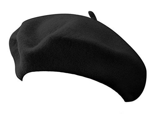 Classic French Artist 100  Wool Beret Hat Black