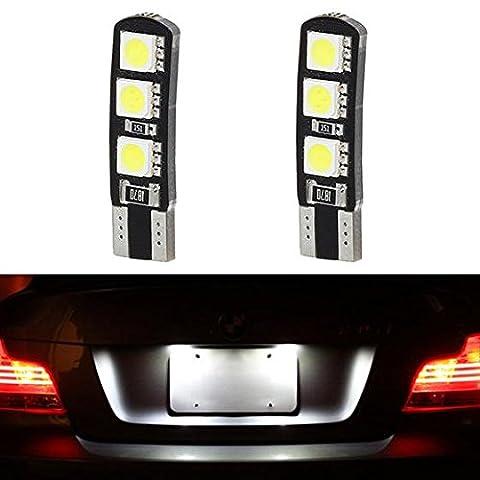 Partsam 2x White Canbus T10 194 168 Car Bulbs License Plate Light 6SMD 5050 LED Lamps 12V