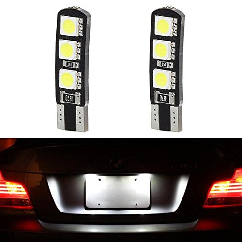 Partsam 2x White Canbus T10 194 168 Car Bulbs License Plate Light 6SMD 5050 LED Lamps 12V