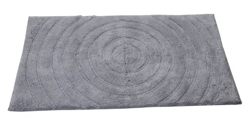 (Textile Décor Castle Hill Bath Mat with Spray Latex Backing, Echo Design, 24 by 40-Inch, Silver)