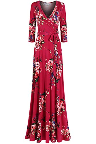 Bon Rosy Women's MadeInUSA 3/4 Sleeve V-Neck Printed Maxi Faux Wrap Floral Dress Summer Wedding Guest Party Bridal Baby Shower Maternity Nursing Berry S