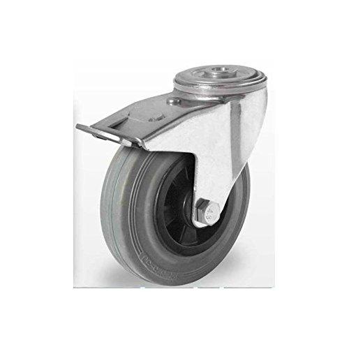 Lenkrolle mit R/ückenloch und Feststseller 80 mm Vollgummi grau