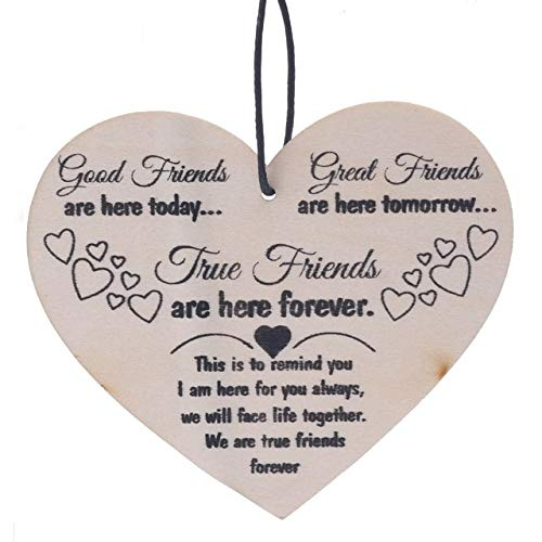 1PC DIY Hanging Tag Good Friends Plaque Sign Friend Gift Shabby Chic Heart Birthday Christmas Pendant & -