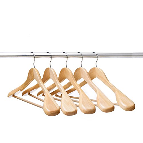 Ezihom Wood Suit Hangers with Extra Wide Shoulder, Solid Wood Coat Hangers with Natural Finish, Heavy Duty Wooden Hangers for Suit, Coat, Jacket with Non Slip Bar, 360 Swivel Chrome Hook, 5pcs