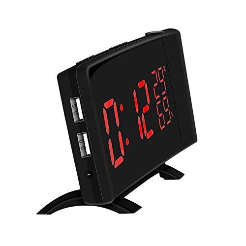LED Digital Alarm Clock, 180°Adjustable 2 USB Charging Powered Indoor Temperature Snooze Kids Wake Up Desk Art Clock Office