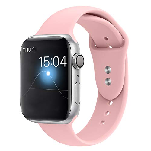 YOUKEX Sport Band Compatible with Apple Watch 38mm/40mm, Soft Silicone Strap Wristbands Replacement for iWatch Series 4/3/2/1 Women Men, (Light Pink S/M)