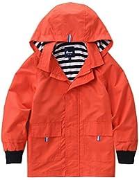 Hiheart Girls Waterproof Hooded Jackets Cotton Lined Rain Jackets Orange 6/7