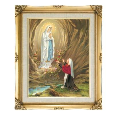 Our Lady of Lourdes Framed Art by Discount Catholic Store