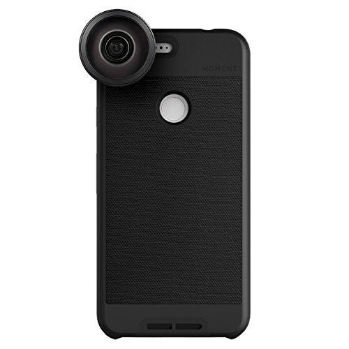 Google Pixel XL Case with Fisheye Lens Kit || Moment Black Canvas Photo Case plus Superfish Lens || Best google fisheye attachment lens with thin protective case. by Moment