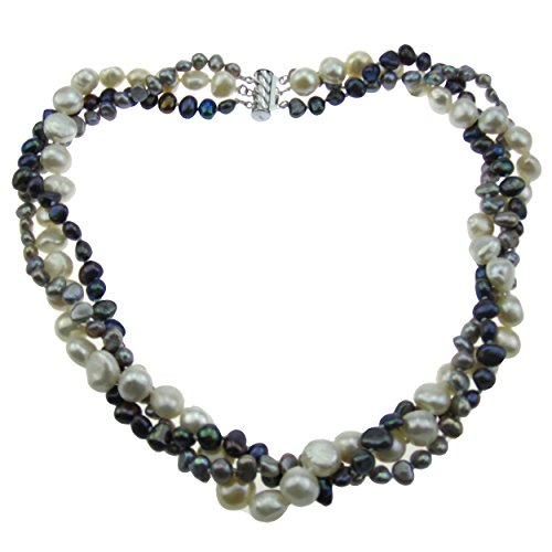 - Pearl Strand Necklace 18 Inches 5-9mm White Gray Peacock 3Row Baroque Freshwater Pearl Necklace Twist