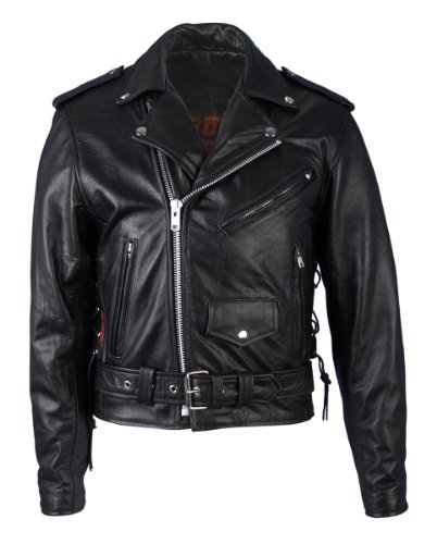 Hot Leathers Classic Motorcycle Jacket with Zip Out Lining (Black, Size -