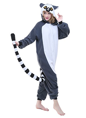 CANASOUR Polyster Adult Halloween Party Unisex Women's Onesie Costume (Medium, Ring-Tailed Monkey) -