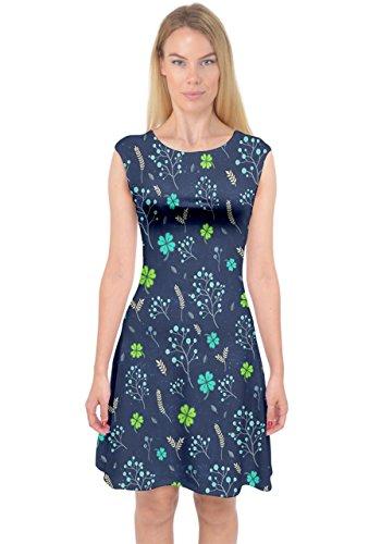 PattyCandy Womens Midnight Blue St Patricks Day Capsleeve Midi Dress,Blue-XL -