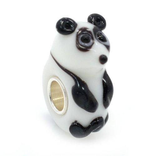 "Pro Jewelry .925 Sterling Silver ""Panda Bear"" Glass Charm Bead for Snake Chain Charm Bracelet"