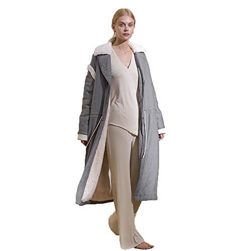 Dames Accueil Cadeau ParfaitcouleurBrownTaille XlGray Pyjamas Poche Peignoirs Épais De Serviettes Bain Luxe Casual Revers Robes Chaud Coton Cardigan NwOmyv8n0P