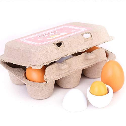 BaconiXfF Preschool pretend Play Toy for kids- educativo per bambini in legno uova tuorlo cucina cibo
