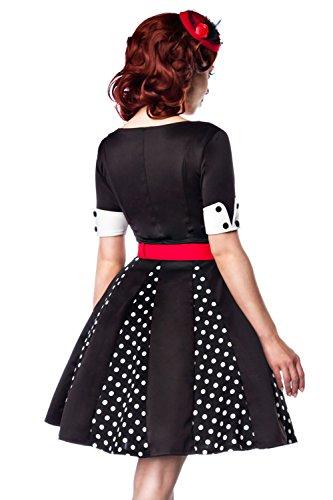V mit kurzen Schwarz Ausschnitt Weiß Ärmeln Kleid Manschetten Retro Kleid mit amp; Godet OWqwq6HF