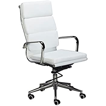 Classic Replica High Back Office Chair   WHITE Vegan Leather, Thick High  Density Foam,