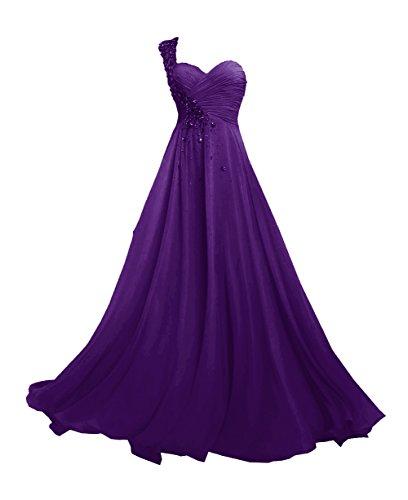Lungo Una JAEDEN Del spalla da d'onore damigella promenade vestito Chiffon Viola Donne Abiti n0wFfqwgB