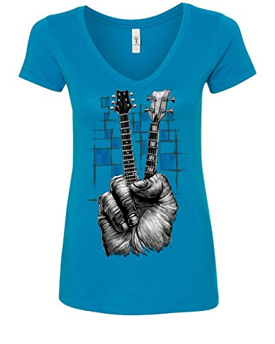 V-neck Womens Guitar T-shirt - Don't Fret Guitar Women's V-Neck T-Shirt Rock & Roll Musician Peace Sign Music Turquoise 2XL
