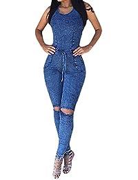 Lovaru Women's Sleeveless Bodysuit Boyfriend Denim Romper...