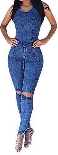 Lovaru Women's Sleeveless Bodysuit Boyfriend Denim Romper Hole Jean Tank Jumpsuit,Blue,X-Large (Womens Denim Suit)