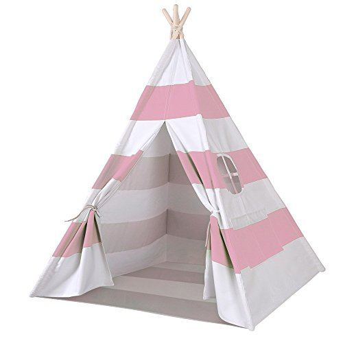 Porpora Indoor Indian Playhouse Toy Teepee Play Tent for Kids Toddlers Canvas with Carry Case, Pink Stripe]()