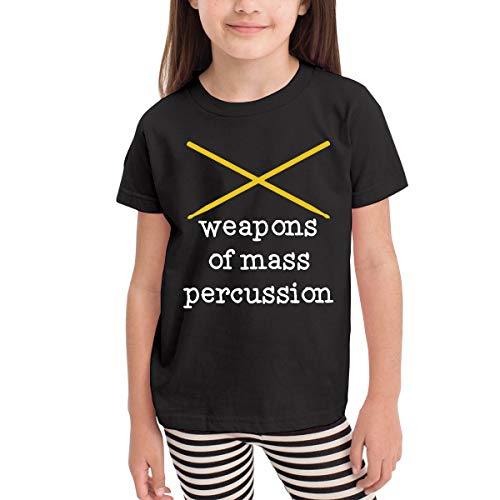 - CERTONGCXTS Baby Girls' Little Boys' Weapons of Mass Percussion Drum Sticks Soft Short Sleeve Tee Shirt Size 2-6 Black