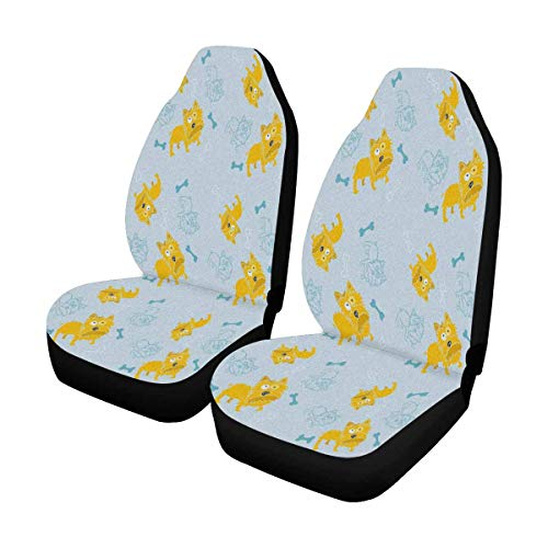 INTERESTPRINT Yorkshire Dog and Bones Front Seat Covers 2 pc,Vehicle Seat Protector Car Mat Covers, Fit Most Vehicle, Cars, Sedan, Truck, SUV, Van