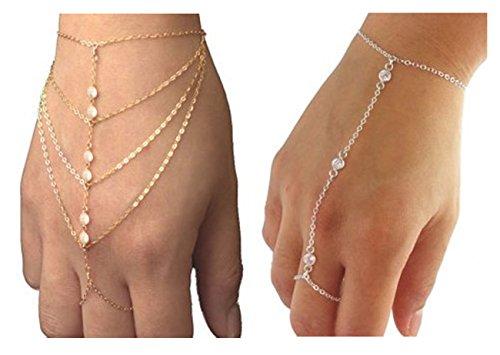 Suyi(TM) Crystal Simple Chain Bracelet Finger Ring Slave ...