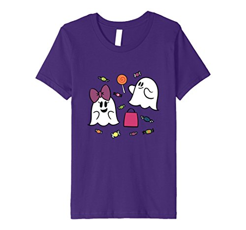 Kids Halloween Ghost with Candy Shirts for Girls 8 Purple
