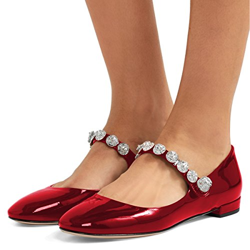 XYD Women Comfort Round Toe Marry Jane Ballet Flats Rhinestone Studded Low Heel Dress Shoes Wine Red
