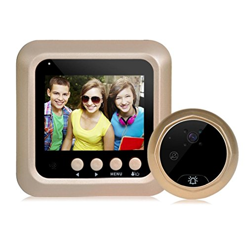 LiPing W5 2.4inch Color Screen HD Door Camera 160 ° Detection Video Viewer Night Visio (Gold)