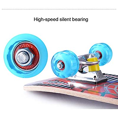 OFFA Skateboards for Beginners, Complete Skateboard 27 X 8 Inch, Maple Double Kick Concave Standard and Tricks Skateboards for Boys Girls Kids and Beginners Teens Skate Board (Color : D): Home & Kitchen