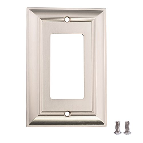 Outlet Single Plate Wall (AmazonBasics Single Gang Wall Plate, Satin Nickel, 3-Pack)