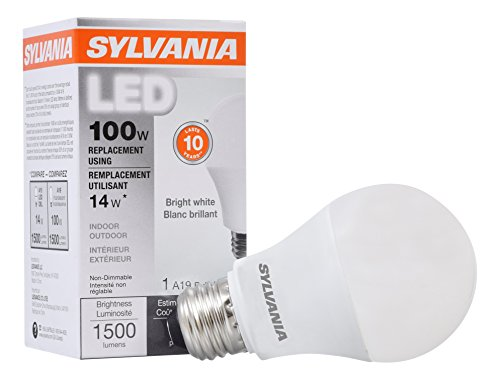 Sylvania Home Lighting 78098 Sylvania Non-Dimmable Led Light Bulb, 14 W, 120 V, 1500 Lumens, 3500 K, CRI 80, 2.375 in Dia X 4.29 in L Bright White