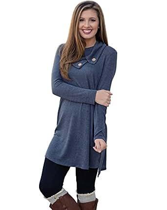MIXMAX Women Lapel Neck Long Sleeve Loose Dress Sides Slit Shirt Dress (Small, Blue)