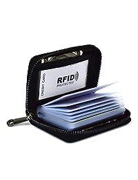 Lacheln RFID Blocking Credit Card Organizer Wallet Genuine Leather Zipper Security Travel Small Money Holder 20 Card Slots