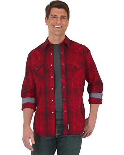 Wrangler Men's Retro Plaid With Overprint Long Sleeve Snap Shirt Red XX-Large (Overprint Red)