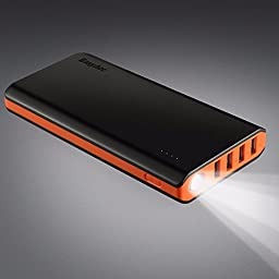 EasyAcc 20000mAh Power Bank (4A Dual-Input Fastest Charge 4.8A Smart Output) External Battery Pack Charger Portable Charger for Android iPhone Samsung HTC - Black and Orange