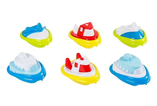 Bath Toy Boats - 6-Pack of Toddler Bathtub Toys, Plastic Kids Tugboats Baby Tub Toys, 3 Models, 2 of Each, Ages 3 and Up - Toddler Boat